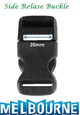 20mm Plastic Side Quick Release Buckle Clip - Cord Strap Backpack Bag Safe BLK #