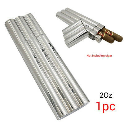 2 oz Flask / 2 No Crush Cigar Tubes Stainless Steel Travel Carry Case Holder Hot