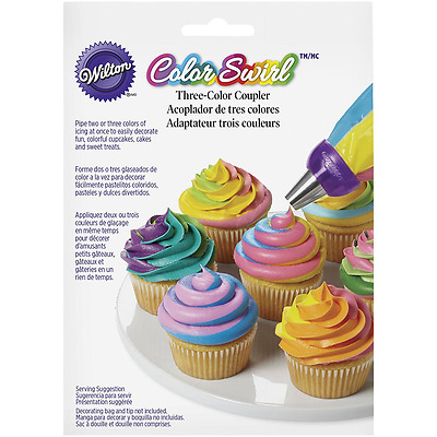 Wilton Icing Coupler, 3-Colour Swirl, Icing Bag Blend, Cake & Cupcake Decoration