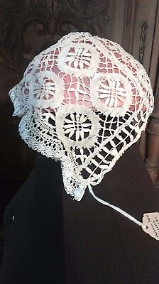 Victorian Bobbin Lace Babies Bonnet From Normandy