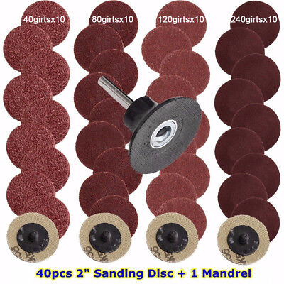 """40pcs Mixed 40/80/120/240 Grits 2"""" Roloc Type Sanding Abrasive Roll With Mandrel"""