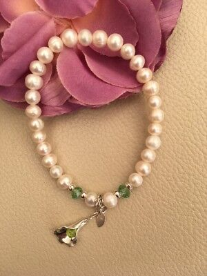 Aug Birthstone Cultured Pearl Sterling Silver Bracelet Real Peridot Lily Charm