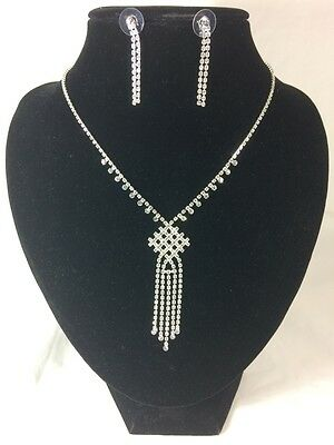 wedding formal diamonte rhinestone silver plated necklace with earing