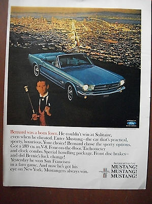 VTG 1965 Original Magazine Ad Car Auto FORD MUSTANG Blue Convertible