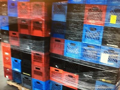 Set Of (4) Used Heavy Duty Plastic Traditional Size Milk Crate