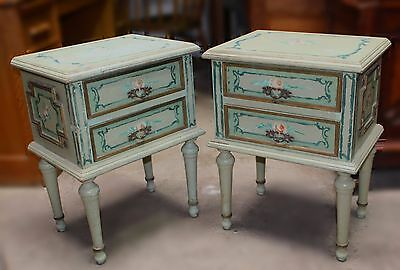 Pair of Antique Hand-Painted Shabby Romantic End Tables