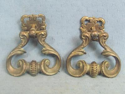 "Vintage Large Keeler Brass Pulls – Chunky 3 ½"" wide and 4"" tall"