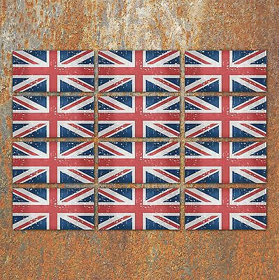 Union Jack Flag Aged worn Look Laminated Stickers Small 12x 45mm GB England