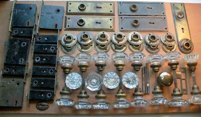 Huge Lot of Antique Glass Door Knobs Brass Hardware Dead Bolt Plates 42 Pieces +