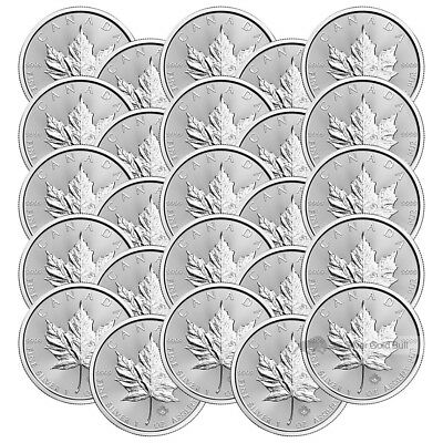 Lot of 25 x 1 oz 2017 Canadian Maple Leaf Silver Coin