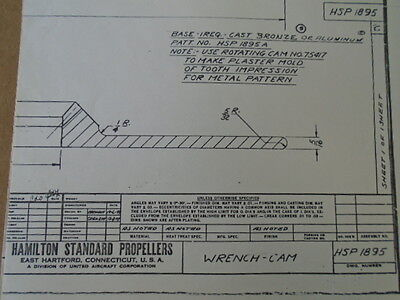 1 Ea Hamilton Standard Propellers Wrench-Cam Drawing #Hsp1895