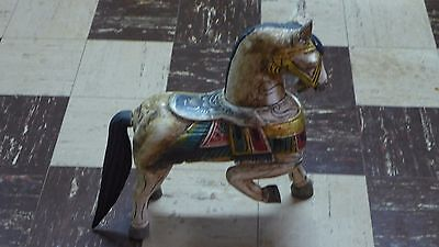 Indonesian / Balinese Handcrafted Wooden Trophy Horse Statue Cracked