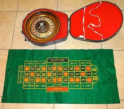 """Mid-Century 1950's-60's laminated Wood Roulette Wheel 12 5/8"""" with Carrying Case"""