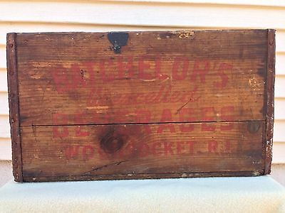 Old Vintage Batchelors Unexcelled Beverages Woonsocket RI Wooden Soda Box Crate