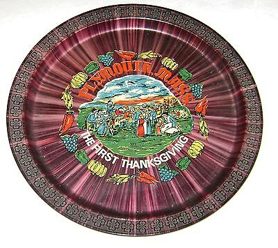 Vintage The First Thanksgiving Plymouth Massachusetts Plastic Serving Tray