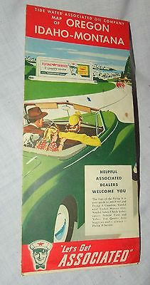 1940s Vintage Flying A Oil Map Oregon Idaho and Montana