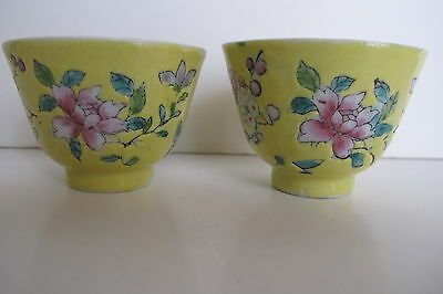 Pair Antique Chinese Famille Juane (Yellow Ground) Tea Cups Bowls Floral Motif