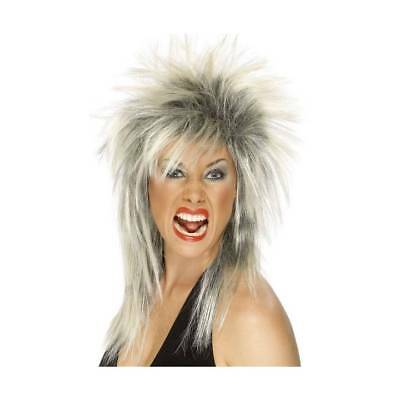 Adults Silver Glam Rock Star Wig Punk Tina Turner 70s 80s 1980's Fancy Dress