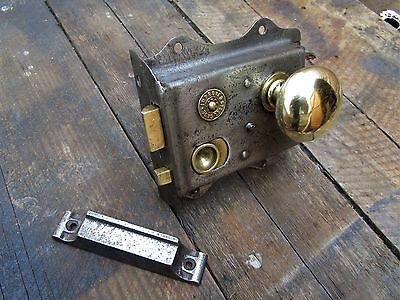 Salvaged Edwardian Thumb Door Rim Lock - Brass Handle - Brass Back Plate & Keep