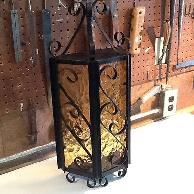 Gothic Spanish Revival Style Iron & Glass Wall Sconce Lamp Lighting