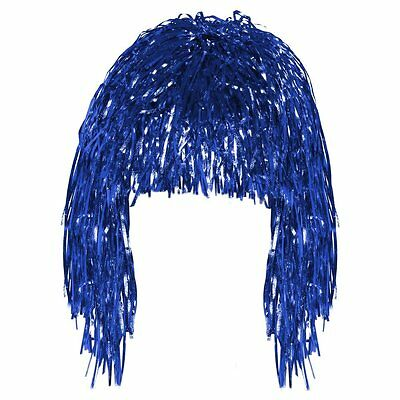 Blue Tinsel Wig Shiny Foil  Festival Fancy Dress Costume Accessory