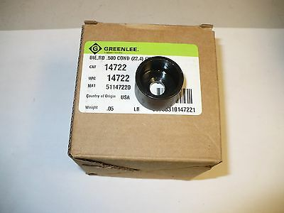 1 pc. Greenlee 14722 Die, RD,.500 Conduit, New