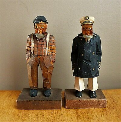 Vintage Wood Carving 2 Old Men Captain and pipe smoking man ESTATE
