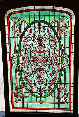 "Stained Leaded Glass Windows Large 60"" GLASS Arts & Crafts Maple frame w Lights"