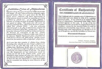 Forbidden Coin of Afghanistan,5 Afghani With Certificate,Story and Album