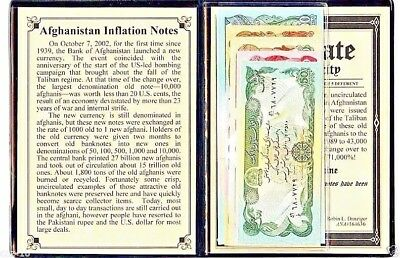 Afghanistan set of 5 Uncirculated Inflation Banknotes & Album,Story,Certificate