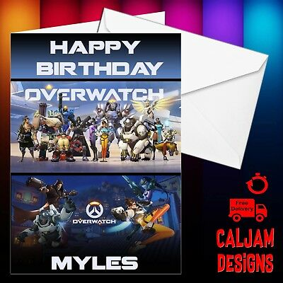 Overwatch Personalised birthday card with Envelope - Fast delivery - any name