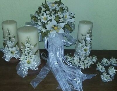 White Blooming Lilies Clay Bridal Bouquet, Candles, Accessories 13 Pieces