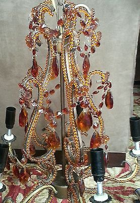 Vintage Stunning Iron Metal Macaroni Beaded Crystal Amber French Chandelier