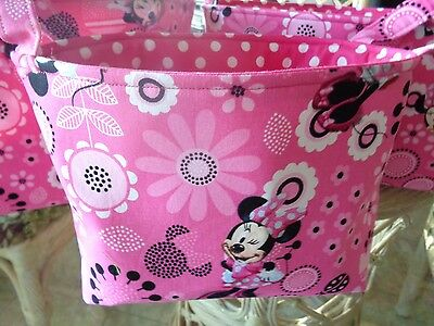 Set of 3 Handmade Pink Minnie Mouse Cotton Fabric Pink Lined Baskets w/ Handles