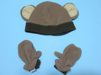 NEW! Boys' Monkey Fleece Winter Cap & Mitten Set Lot Size 4T/5T - Super Cute!