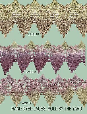 HAND DYED LACE 5CMH X SET of 2 YARDS --JUST CHOOSE THE COLOUR