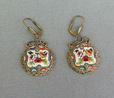 Vintage Etruscan Victorian Style Floral Drop Dangle Micro Mosaic Earrings
