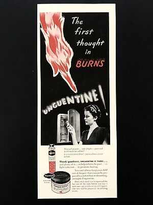 1943 Vintage Print Ad Unguentine Sun Burn Remedy Relief Fire Hand Touch