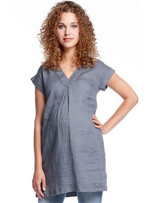 NEW - Queen mum - Inverted Pleat Front Linen Maternity Tunic in Blue