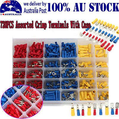 720Pcs Assorted Insulated Electrical Wire Spade Set Crimp Terminals Connector MQ