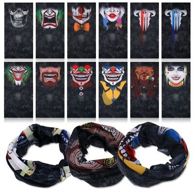 Multi-Purpose 3D Printed Skull Clown Scarf Bandana Head Face Mask Vivid HOT SALE