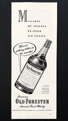 1943 Vintage Print Ad OLD FORESTER Bourbon Whisky Bottle Illustration
