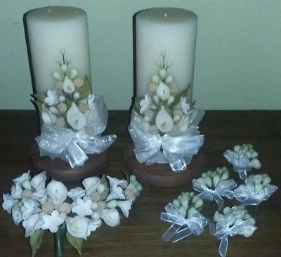 White Blooming Calla Lilies Clay Bridal Bouquet, Candles, Accessories 10 Pieces