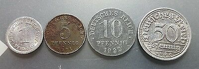 Germany 1, 5, 10, 50 pfennig 1917-1922 coins.