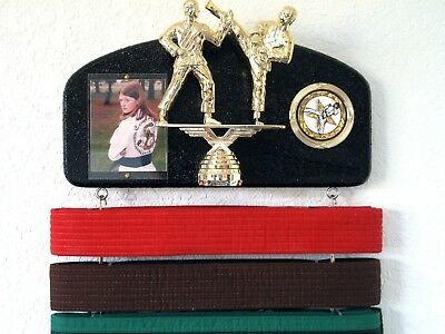 Martial arts belt display with a KICK ! Midn. trophy dbl.. Huge Saving