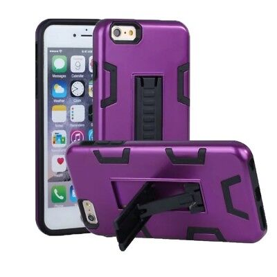 (Purple+Black) - iPhone 6 Case, iPhone 6S Case, VPR 2 In 1 Hybrid Dual Layer Pla