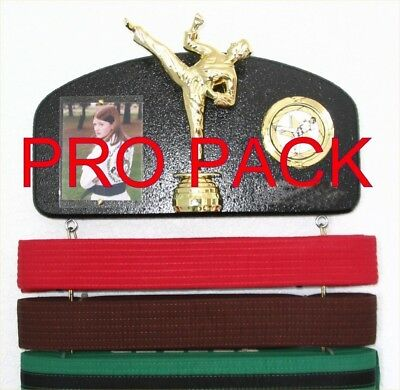 Martial arts belt display with a KICK ! PRO PACK MSR.. Free Delivery