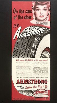 1949 Vintage Print Ad ARMSTRONG Tires Lucille Ball Red Polarubber