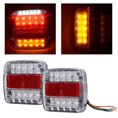 2x 26LED Stop Rear Tail Reverse Light Indicator License Plate Lamp Truck Trailer