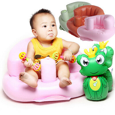 Baby Bath Seat Dining Chair Inflatable Sofa Pushchair Portable Kids Learn Stool